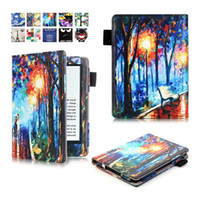 animal book bags - For Amazon New Kindle Oasis inch E Book Fashion Flower Print Leather Flip Case Pouch E reader Painting Tree Tower Bag Cover