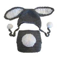al por mayor pañal ganchillo recién nacido-Equipo adorable del conejito de pascua del bebé, hecho a mano del ganchillo del bebé de la muchacha del bebé del ganchillo Sombrero y sistema de la cubierta del pañal del conejo del conejo,