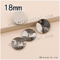 Wholesale mm Round Sew on rhinestones Rivoli Crystal Black diamond Color Flatback Sewing Crystals Silver base holes
