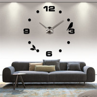 analog sticker - Modern Fashion DIY Large Wall Acrylic Clock D Sticker Quartz Bird Number Clock Home Wall Decor