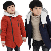 Wholesale Autumn Winter Kid s Fashion Casual Jackets Boy s Cashmere Long Sleeve Hooded Coats Navy Orange Kids Warm Clothing GI2066