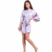 robe d'été soie mauve achat en gros de-Gros-Light Violet Lady Silk Rayon Mini Robe Sexy Kimono Dress Bath Robe Summer Casual Sleepwear Pajama S M L XL XXL XXXL NR105