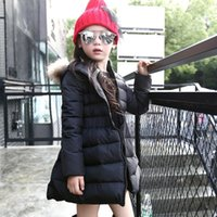 Wholesale 2016 New Fashion Girls Jackets Coats Fur Hooded Thick Warm Parka Down Kids Clothes Cotton Children s Outwear Clothing MC0329
