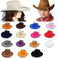 Wholesale Cowboy Hat Adult Children Suede Look Wild West Fancy Dress Mens Ladys Cowgirl Women Men Kids Knight Wide Brim hat Visor Hats WX H54