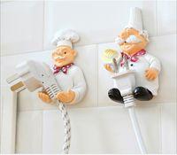 bathroom plug socket - cartoon cheif design socket power storage hook plug holder rack wall shelf