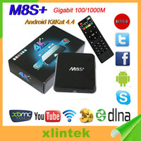 Wholesale Satellite Hd Tv Box - M8S Plus Android TV Box 1080 Full-HD Quad Core M8S PLUS Satellite Cable TV Box 8GB Nand Flash Android Top Sets TV Box