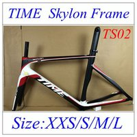 Wholesale TIME Skylon Full Carbon Fibre Bicycle Frame Cheap Discount Frame Black Red With K BB30 BB68 Frame With Fork Headset Seatpost Clamp Free EMS