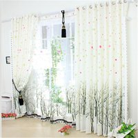 Wholesale Fresh Tree Curtains Silk Floss Carved Romantic Living Room Bedroom Window Green Curtain Sheer for Wedding Room Decorations