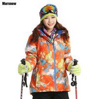 Wholesale Dropshipping ski Coats Thicken New print warm thermal waterproof windproof Collar Hooded Outwear winter jacket women