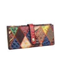 CCZ carpetas de las mujeres bolsos de cuero genuino larga de las señoras Monedero elegante colorido de las carpetas de las mujeres de cuero de vaca Señora monedero de la cartera WL030F