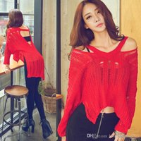 Wholesale European fashion sexy women s sexy hollow out ripped holes v neck off shoulder long sleeve knitted sweater asymmetrical irregular jumpe
