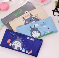 Wholesale 2016 Japan and South Korea Harajuku Cartoon Canvas Miyazaki Pencil Bag Cute Female Student Chinchilla Pencil Bag Support