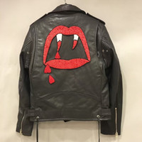 Wholesale Fall embroidery bloodteeth new style men s jacket real leather bomber jacket