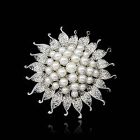 asian sun hat - Fashion Simulated Pearl Brooch Pins Sun Flower Rhinestone Brooches Suitable for Bags Clothes Hats Scarf Accessories