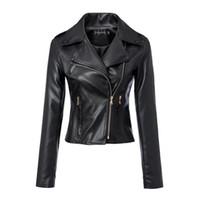 Wholesale Female heart shaped printing Slim leather motorcycle jacket leather jacket new winter Europe station