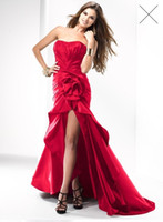 Wholesale Brand New Red Black Strapless Taffeta Hi Lo Junior Bridesmaid Dresses with flowers and reffles