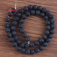 Wholesale Strands Simple Style Natural Volcanic Lava Stone Round Loose Beads Charm Jewelry Bracelet Making