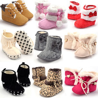 Wholesale Baby Snow Boots Bow knot Kids Crib Shoes Fur Knitted Wool Thicken Boots Warm Stable Winter Hardwearing Shoes For Newborn Infant Toddler Girl