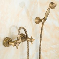 Wholesale Bathroom Shower Faucet Sets Bath Faucet Hand Shower Head With Hose Wall Mounted Antique Brass Copper