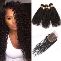 Wholesale Peruvian Kinky Curly Hair Weft With Closure Unprocessed Human Hair Closure With Hair Bundles A Peruvian Kinky Curly Human Hair Extension