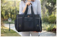 Wholesale Fashion Nylon Portable Dog Cat Carriers Totes Handbag Purse Travel Bag BLACK