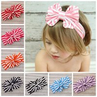 Wholesale Stripe Children Baby Head Wrap Bow Headband Jersey Knit Headwraps Kids Turban Hair Bows Colors