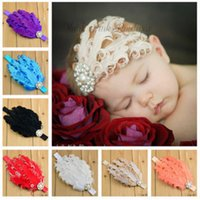 Wholesale Baby Girl Children pearls rhinestone Headband with Feather Gorgeous crystal crown jewelry Hair band Shining headwear Kids hair accessories