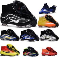 Wholesale Charlin s Newest s League Mercurial Superfly CR7 FG Soccer Cleats Magista Obra Football Boots Hypervenom II Kids Soccer Shoes