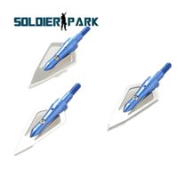 arrow track - 3pcs Hunting Broadheads Archery Arrowhead Grain blades Fits and Compound Bow Arrows Flechas Carbono Blue Color order lt no track