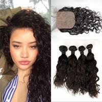 asian natural hair - 4 Wefts with Silk Closure Asian Water Wave Human Hair A Natural Color Popular Virgin Hair with Closure