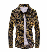 Wholesale Trendy Floral Print Long Sleeve Mens Casual Shirts Slim Men Flower Printing Dress Shirts camisa masculina Hombre chemise homme