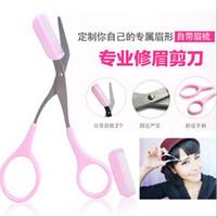 Wholesale 1pc Pink Eyebrow Trimmer Eyelash Thinning Shears Comb Shaping Eyebrow Grooming Cosmetic Tool Eyelash Hair Clips Scissors