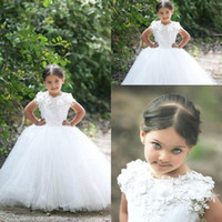 Wholesale Lovely Princess Flower Girls Dresses For Weddings Cap Sleeves Appliques Ruched Ivory Ball Gown KIds Holy First Communion Dress