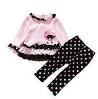 Wholesale 2016 New Style Baby Girls Clothes Set Fashion Age Spring Newborn Polka Dot kids Bird T shirt Pants Casual Lace Floral suits