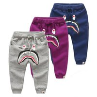 Wholesale Kids Harlan Baggy Pants Fashion Shark Cotton Ins Harem Pants Ins Cross Haroun Pants Elastic Casual Cropped Harem Trousers Children Clothing