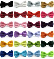 Wholesale Bow ties colors Adjust the buckle solid color bowknot Occupational bowtie for Father s Day tie Christmas Gift Free TNT FEDEX