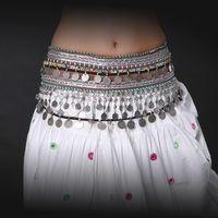 ats belt - Unisex ATS Tribal Belly Dance Hip Belt Adjustable Fit Antique Bronze Beads Metal Chain Gypsy Dance Coins Belt Professional