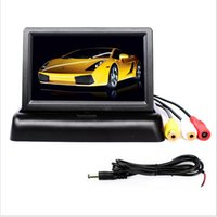 auto vcr - 4 quot TFT Color LCD Auto Parking Rearview Monitors inch Car Foldable Monitor For Camera DVD VCR DC12V V Video Input