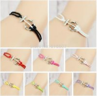 no minimum order - No Minimum Order New DIY Hand woven Color Anchor silver pendant Wax rope bracelet customized any style