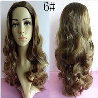 Wholesale fashion brown wig with headband synthetic wavy women s half wig color