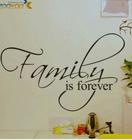 Wholesale family is forever home decor creative quote wall decals zooyoo8068 decorative adesivo de parede removable vinyl wall stickers