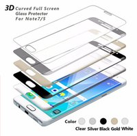 Wholesale 9H MM For Galaxy Note edge Note edge Tempered Glass Phone Front Screen Protector D Curved Edge Full Cover