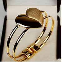 Wholesale New Fashion Glod Plated Bangle Cuff Slap Snap BraceletsHeart Love Charm Jewelry Gifts for Women and Men
