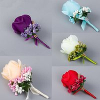 best corsage flowers - 1 PC Ivory Red Best Man corsage for Groom groomsman silk rose flower Wedding suit Boutonniere accessories pin brooch decoration
