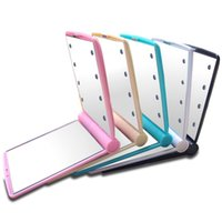 Wholesale 1 Lady Makeup Cosmetic Folding Portable Compact Pocket Mirror LED Lights Lamps