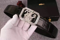 animal skin patterns - Luxury genuine leather belt for men use crocodile skin cowskin to make with money pattern buckcle stand wear and tear items buckcles