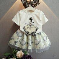 Wholesale Short Blue Skirt Cartoon - Girl fashion flower Lace Short skirt Suit new 2 Color children cartoon Short sleeve T-shirt+Short skirt 2 pcs set Suits B001