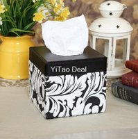 Wholesale Tinyinthebox TM Euro PU Leather lovely creative Black And White Fluff Pattern Squared tissue box holder For House Car