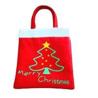 big sack - 30 cm Christmas Gift Bag Xmas Tree Pattern Large Sack Stocking Big Santa Claus Candy Bags Handbag Xmas Gifts SD073