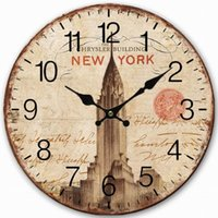 antique chrysler - Retro Vintage Style Large Clock New York Chrysler Building Home Decorative Wall Clock Wood CM